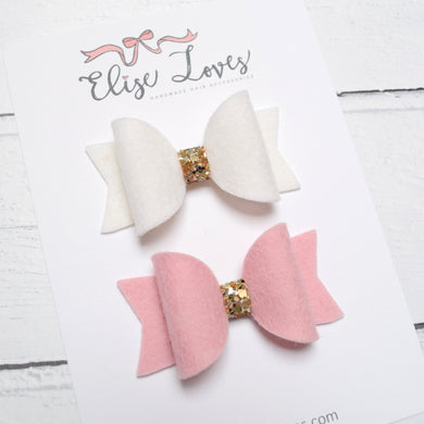 Set of Felt Mini Bows - Pink & White