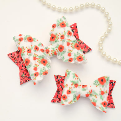 Poppy Print Floral Bow