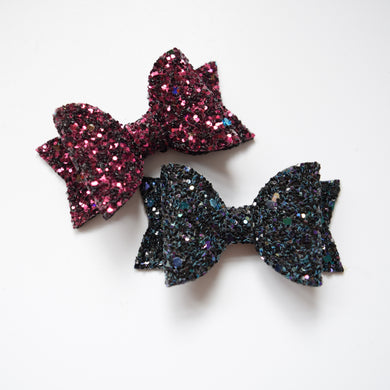 Mini Halloween Glitter Bow