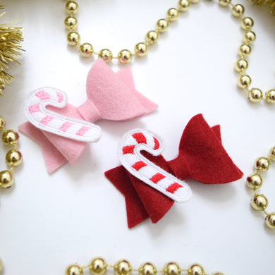 Mini Felt Bow with Candy Cane Feltie