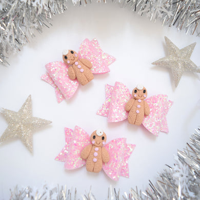 Mini Clay Gingerbread Girl Bow