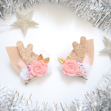 RESTOCKED - Floral Reindeer Ear Clips