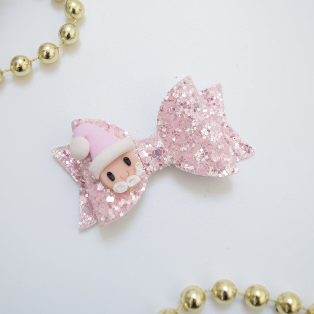 Mini Clay Santa Bow - Pink