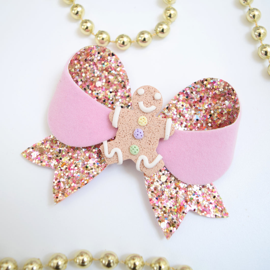 Medium Pink Clay Gingerbread Girl Bow