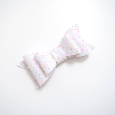 Medium White Rainbow Glitter Bow