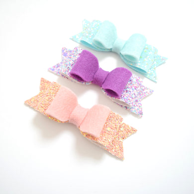Set of Three Felt and Glitter Double Bows