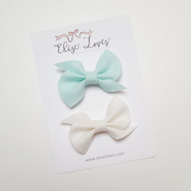 Set of Felt Twist Bows - White & Aqua