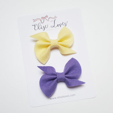Set of Felt Twist Bows - Lemon & Lilac