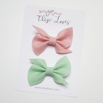 Set of Felt Twist Bows - Pink & Mint