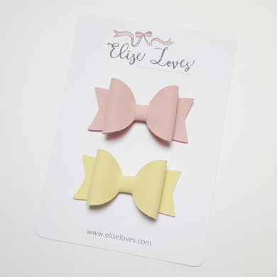 Set of Glitter Leatherette Bows - Pink & Lemon