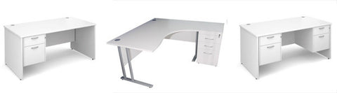 Examples of executive white office desks with drawers