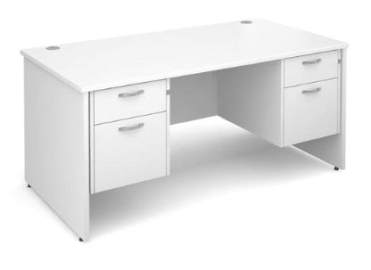 The Maestro white office desk with drawer on either side - click to shop now