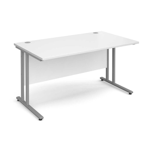 Maestro white office desk with silver legs