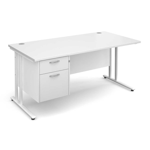 Maestro 25 Cantilever Leg WL Straight Desk with 2 Drawer Pedestal (White)