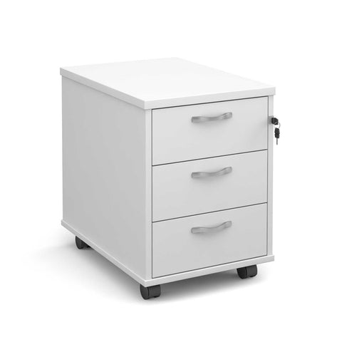 Maestro 3 Drawer Mobile Pedestal (White)