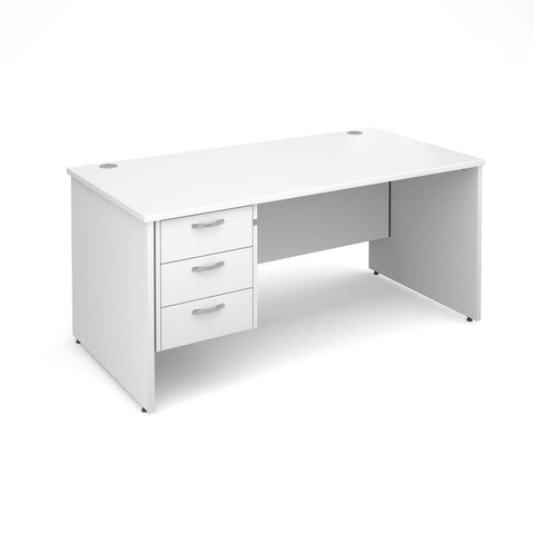 Maestro 25 PL Straight Office Desk (White) with 3 Drawer Pedestal
