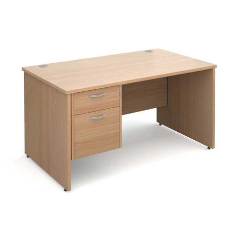 Maestro 25 PL Straight Office Desk (Panel Leg) with 2 Drawer Pedestal