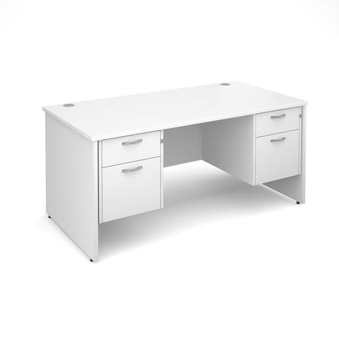 Maestro 25 PL Straight Office Desk (White) with 2+2 Drawer Pedestal