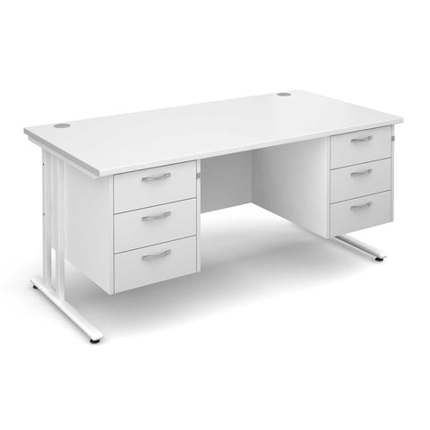 Maestro 25 Cantilever Leg WL Straight Desk with 3+3 Drawer Pedestal (White)
