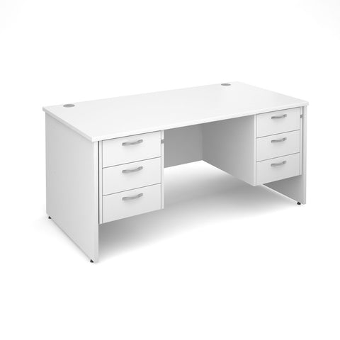 Maestro 25 PL Straight Office Desk (White) with 3+3 Drawer Pedestal
