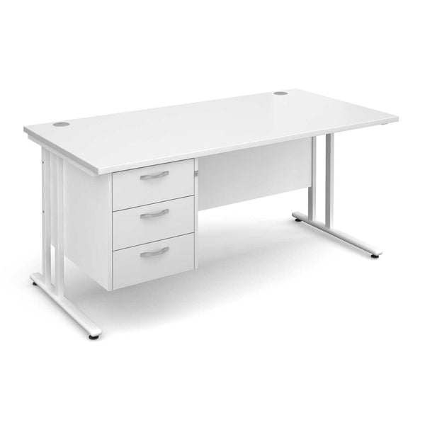 Maestro 25 Cantilever Leg WL Straight Desk with 3 Drawer Pedestal (White)
