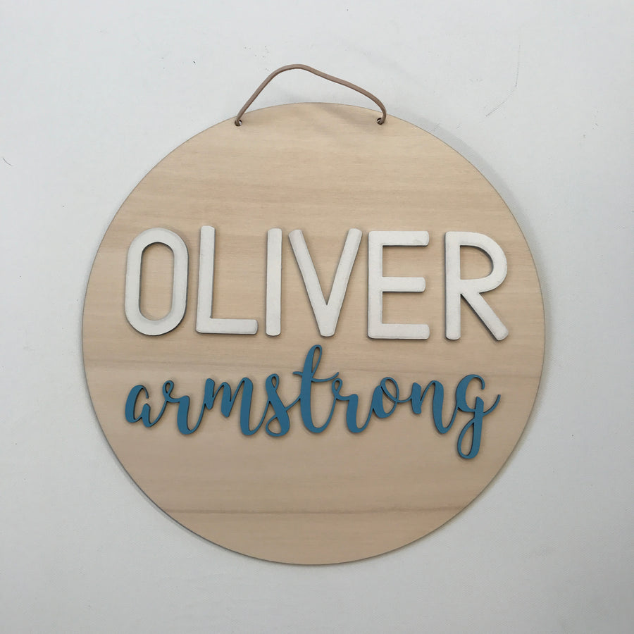 Double layer personalised name plaque