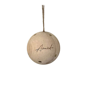 Personalised Timber sphere Christmas Baubles