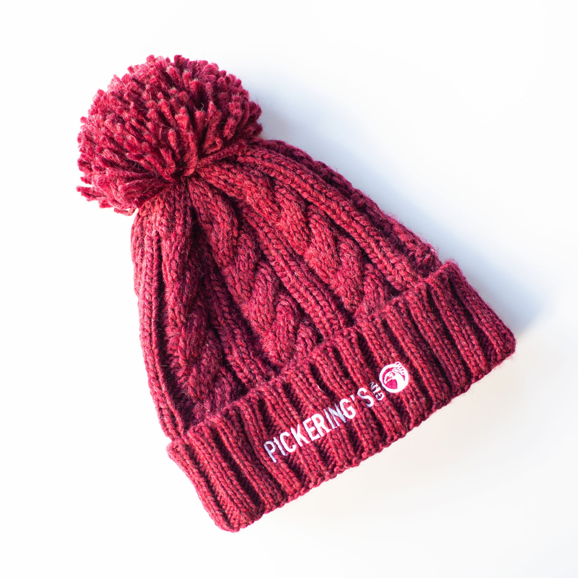 Burgundy Cable Knit Bobble Hat