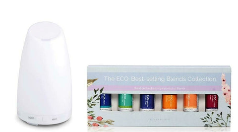 Aromamist Ultrasonic Diffuser & Eco Essential Oils Blends Pack (Serene)
