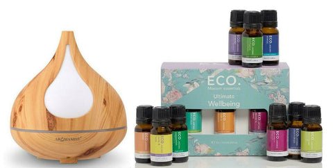Aromamist Ultrasonic Diffuser & Eco Ultimate Wellbeing Essential Oils Blends Pack (Beech)