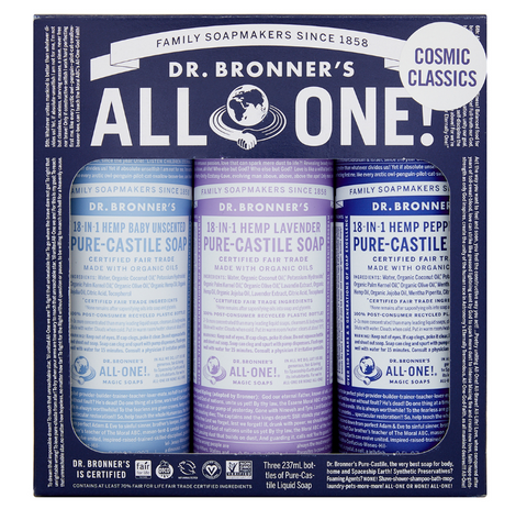 Dr Bronner's Pure Castile Soap Set 237ml x 3 - Cosmic Classics