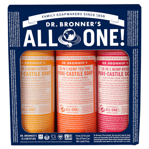 Dr Bronner's Pure Castile Soap Set 237ml x 3 - Summer Lovin'
