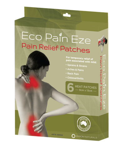BYRON NATURALS Eco Pain Eze Pain Relief Heat Patches x 6pc