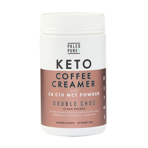 Paleo Pure Keto Coffee Creamer with C8 C10 MCT Powder - Double Choc 250g