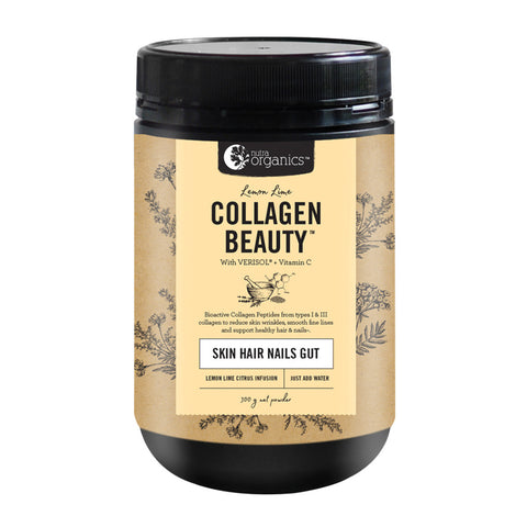 Nutra Organics Collagen Beauty + VitC (Skin Hair Nails Gut) 300g - Lemon Lime