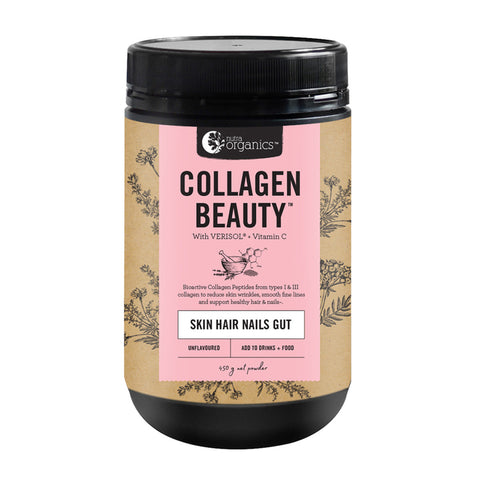 Nutra Organics Collagen Beauty + VitC (Skin Hair Nails Gut) 450g - Unflavoured
