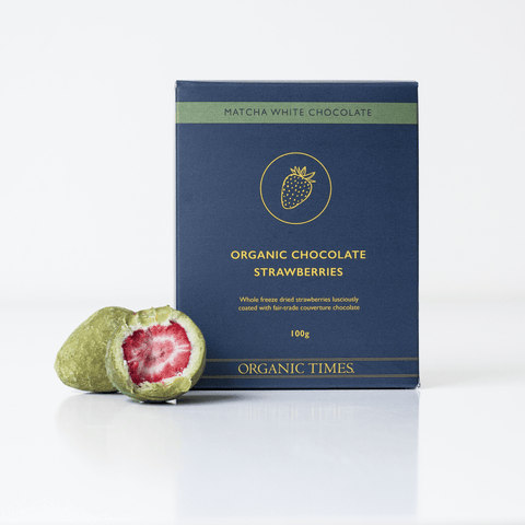 Organic Times Matcha White Chocolate Freeze Dried Strawberries Box - 100g