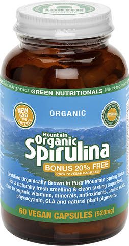 GREEN NUTRITIONALS Mountain Organic Spirulina - 72 Vegan Capsules (520mg)