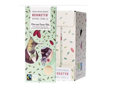 BENNETTO Organic Dark Chocolate bar - Mint and Cocoa Nibs 100g