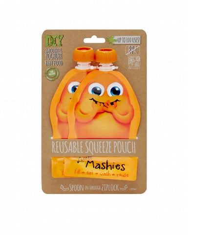 Little Mashies Reusable Squeeze Pouch Orange 2 Pack