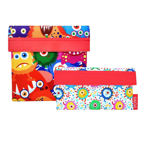 SACHI Reusable Lunch Sandwich & Snack Pocket Set - Monsters