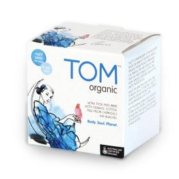 Tom Organic 10 Super Ultra Thin Night Pads with Wings