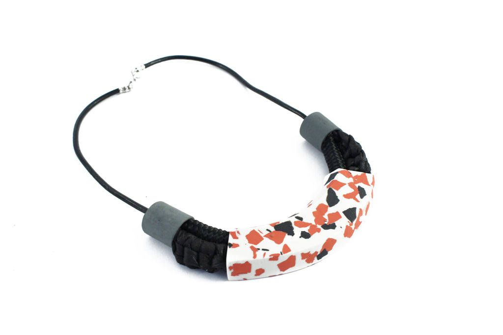 Amara / Tribal style porcelain necklace / Black terrazzo