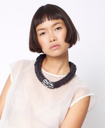 Handmade minimalist statement knitted necklace gift tribal black white confetti