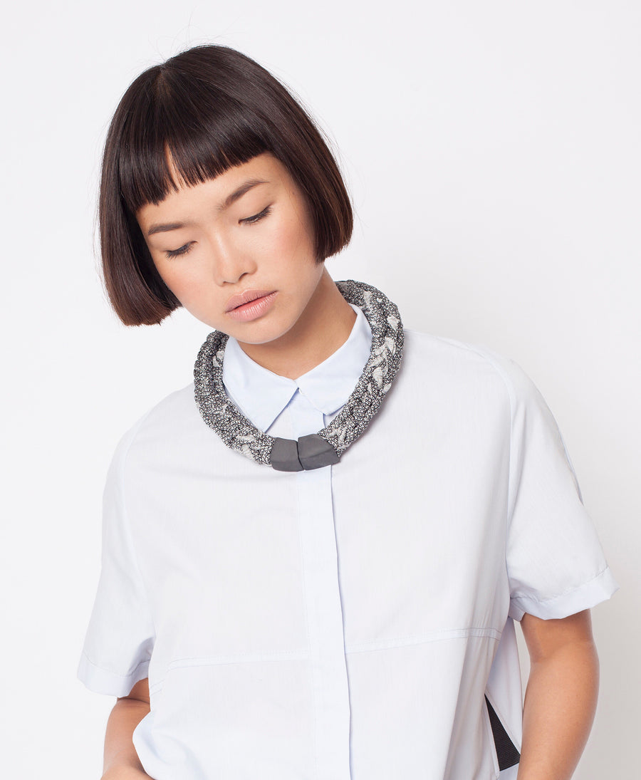 Handmade minimalist statement knitted necklace gift tribal silver black