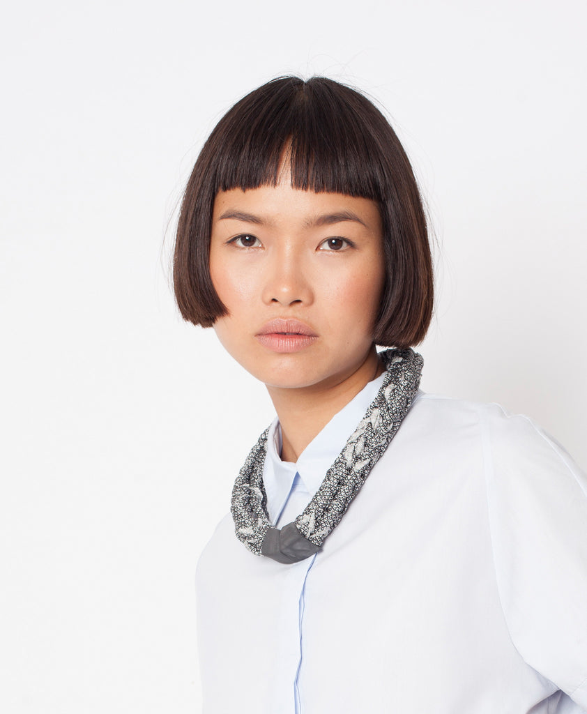 BAAKO / Silver black knitted necklace