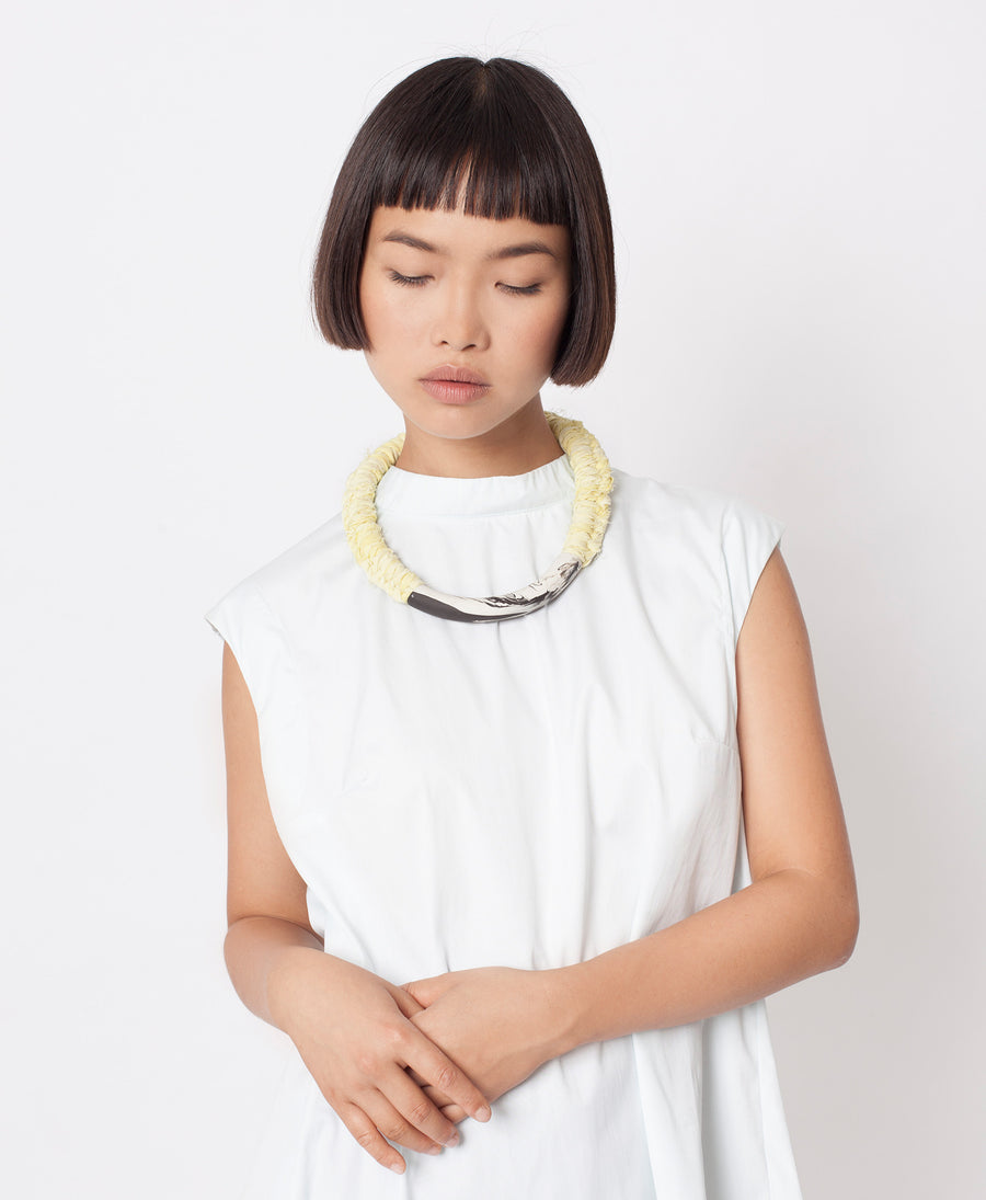 Handmade minimalist statement rope necklace gift tribal tube porcelain boho marble black yellow