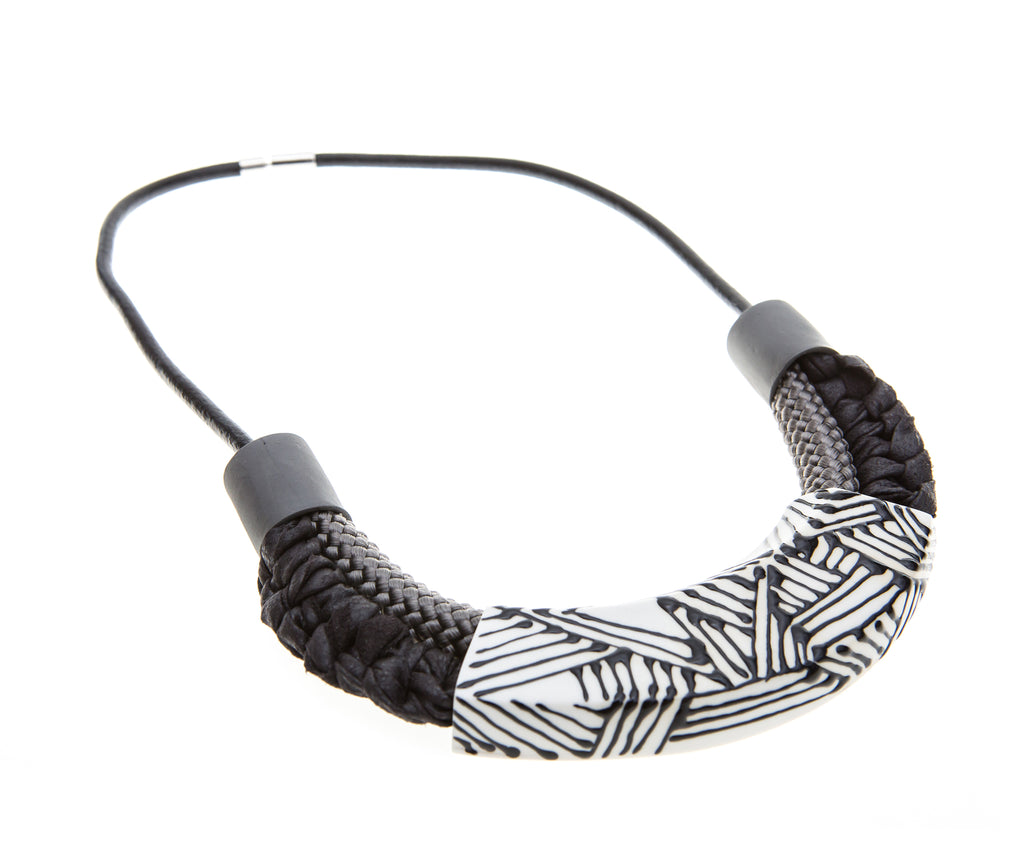 Amara / Tribal style porcelain necklace with black strips
