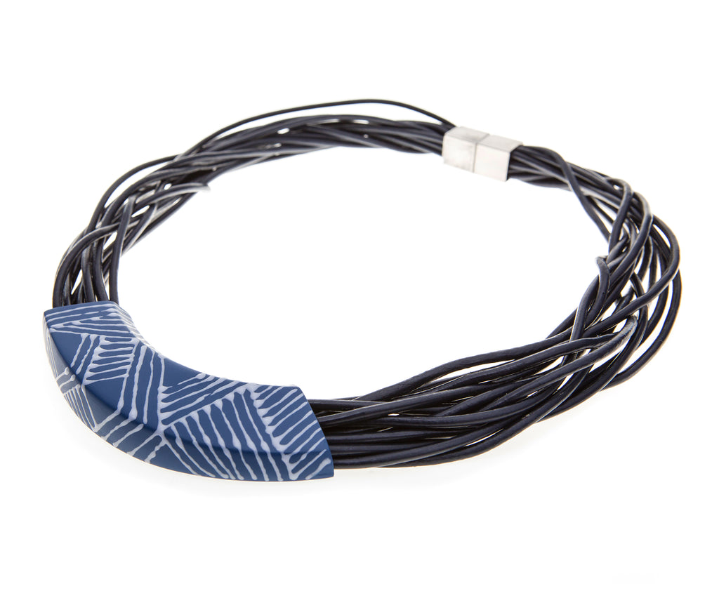 NIKORA / Blue Leather cords porcelain necklace