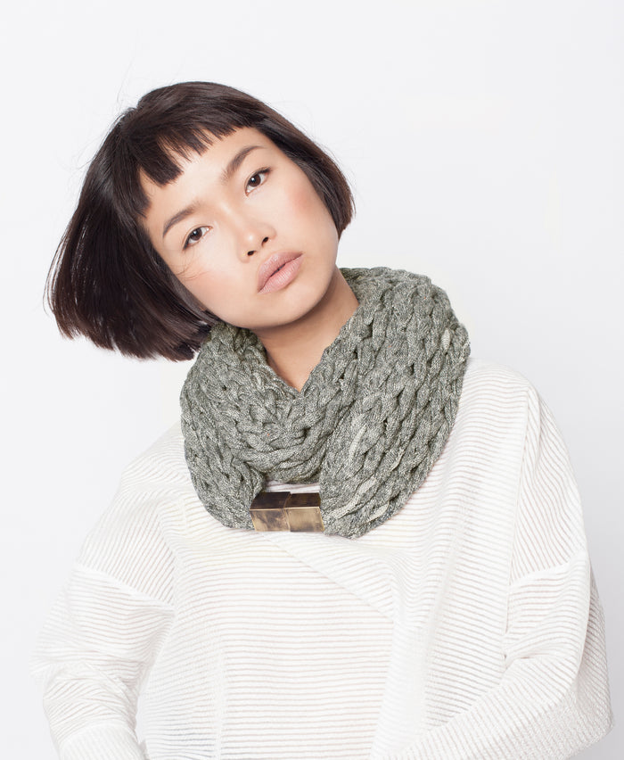 MOANA / Olive French terry  knitted scarf